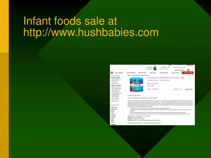 Infant foods sale at http://www.hushbabies.com