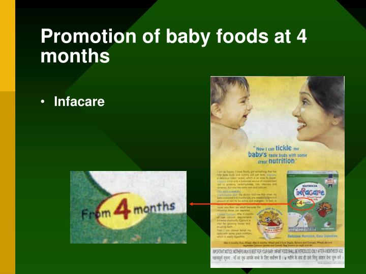 Promotion of baby foods at 4 months