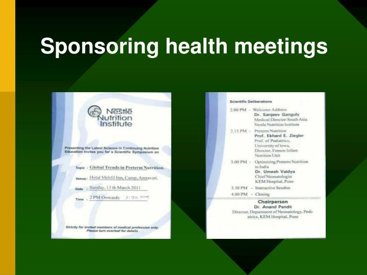 Sponsoring health meetings
