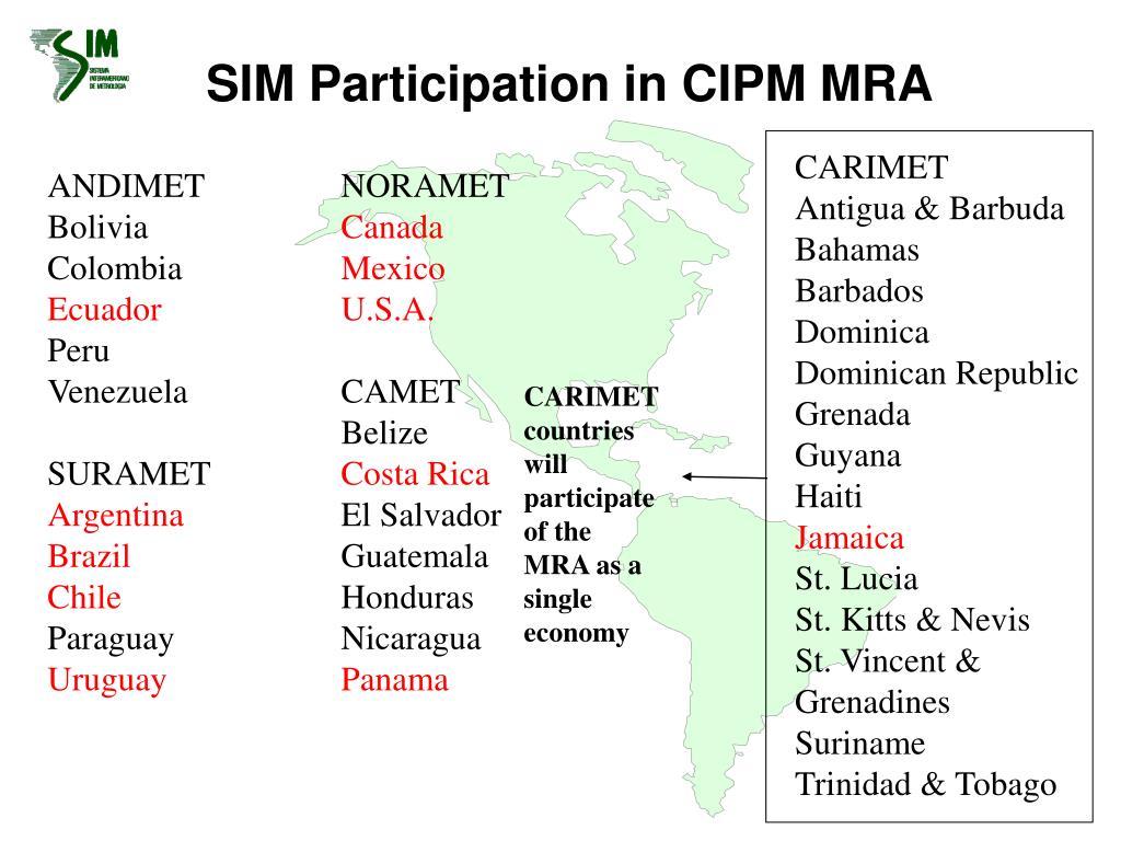SIM Participation in CIPM MRA