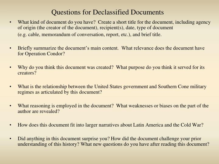 Questions for declassified documents