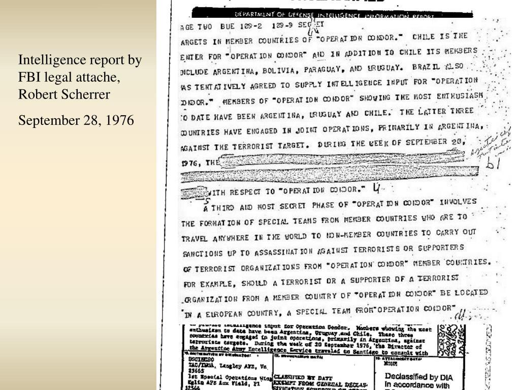 Intelligence report by FBI legal attache, Robert Scherrer