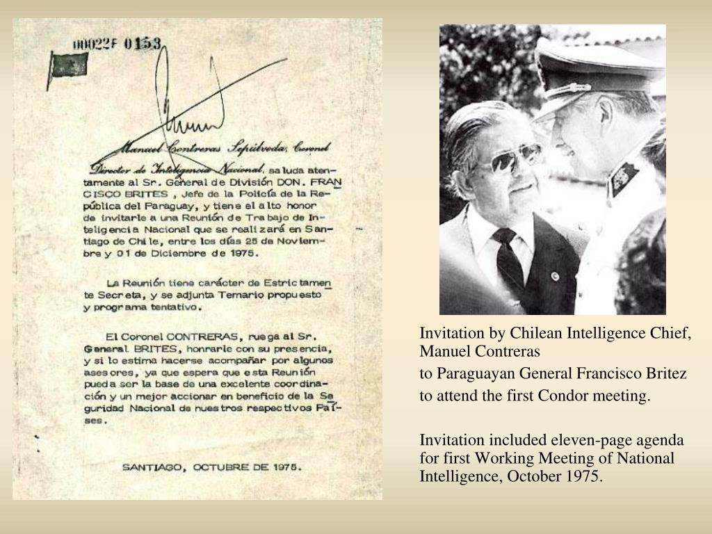 Invitation by Chilean Intelligence Chief, Manuel Contreras