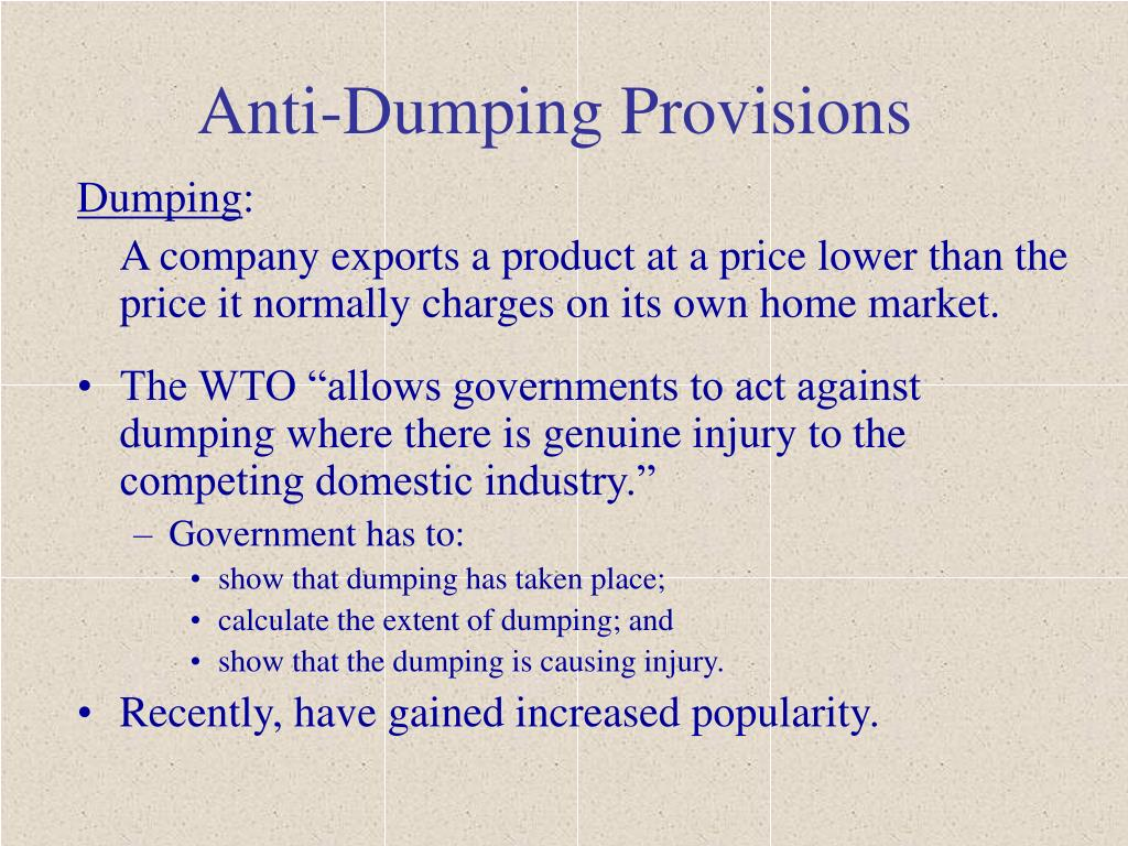 Anti-Dumping Provisions