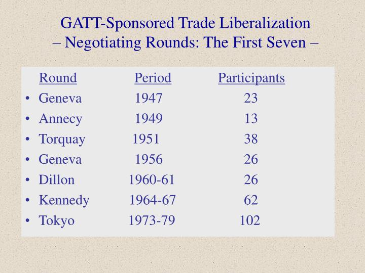 Gatt sponsored trade liberalization negotiating rounds the first seven