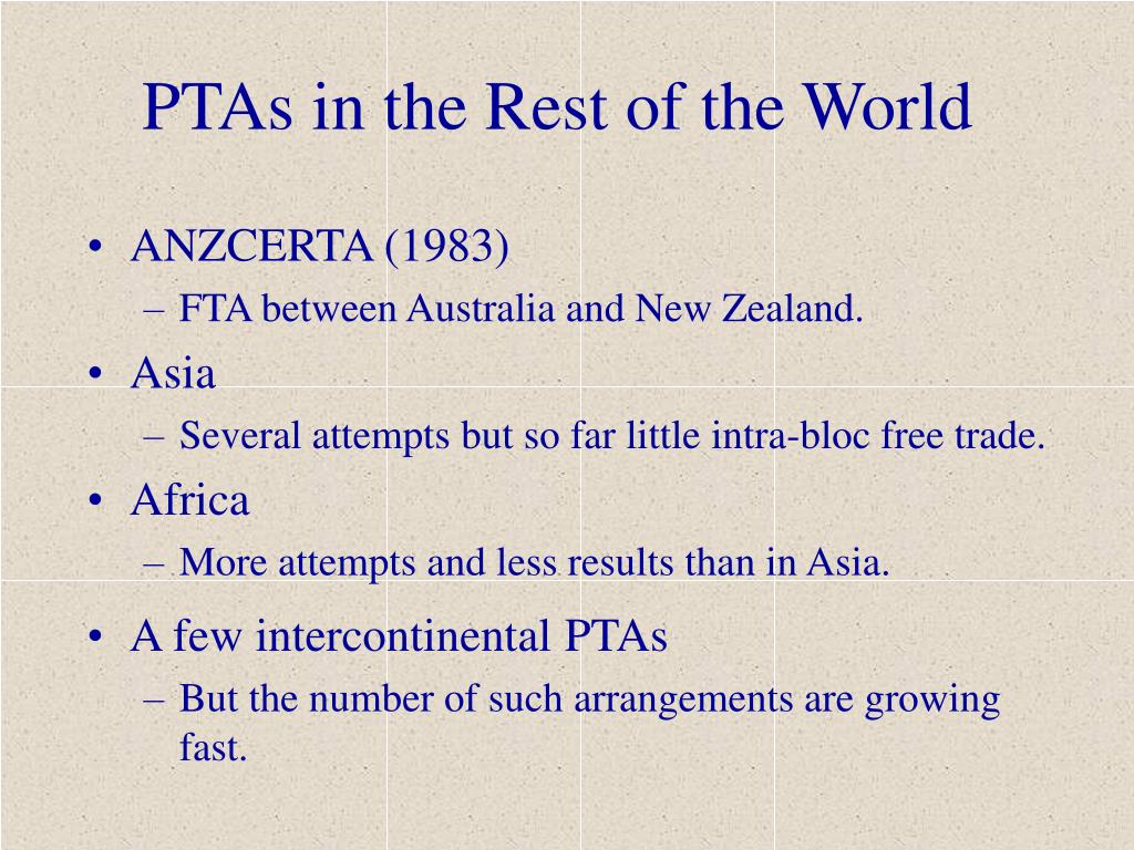 PTAs in the Rest of the World