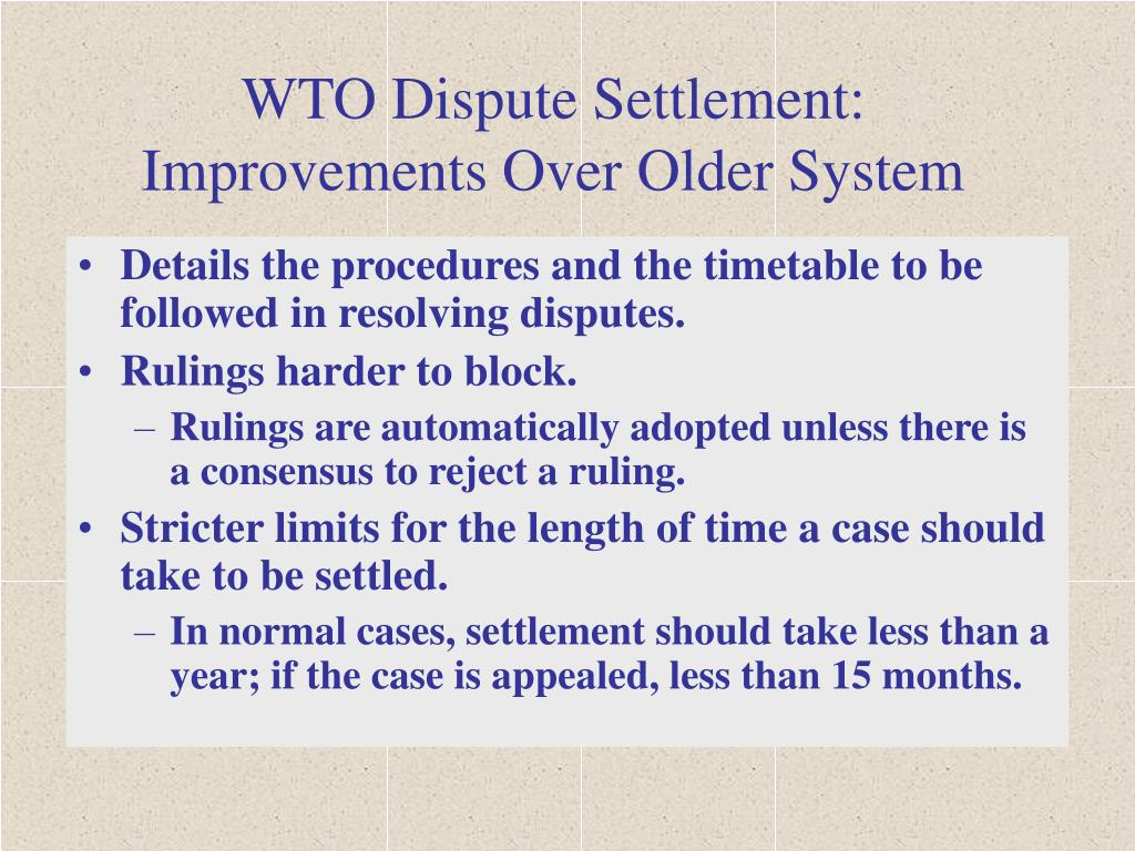 WTO Dispute Settlement: