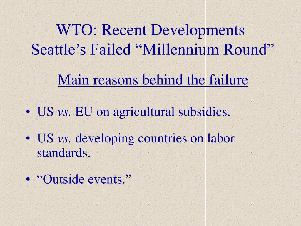 WTO: Recent Developments