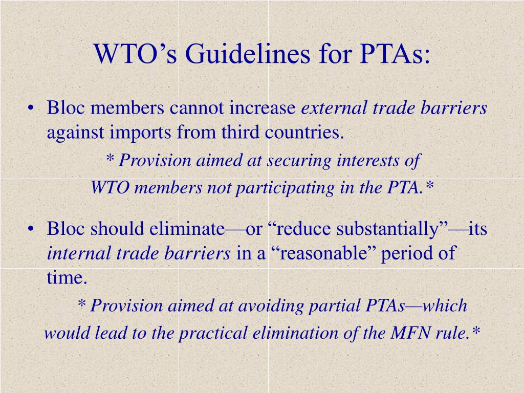 WTO's Guidelines for PTAs: