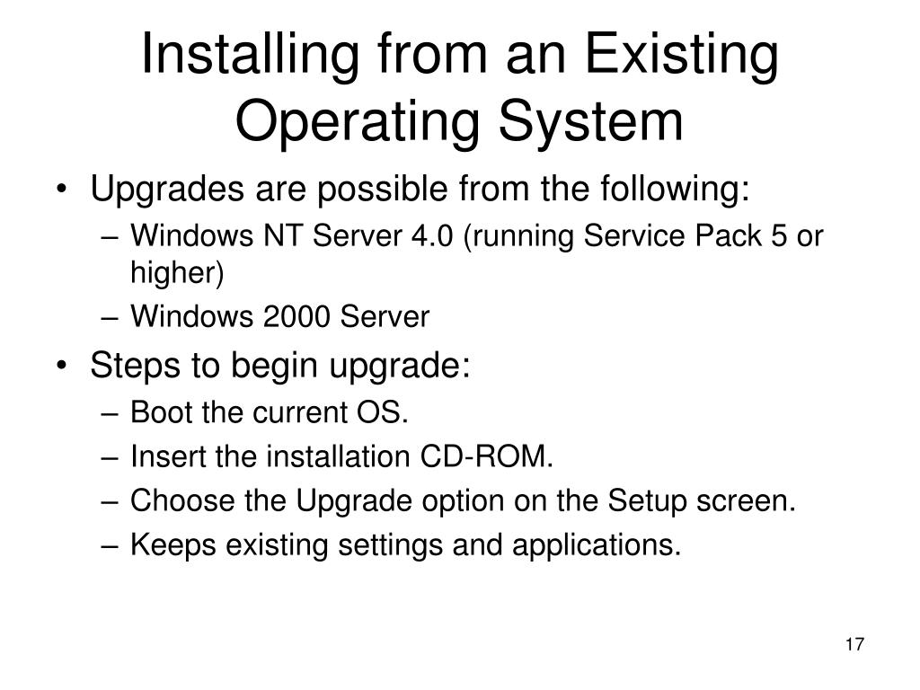 Installing from an Existing Operating System