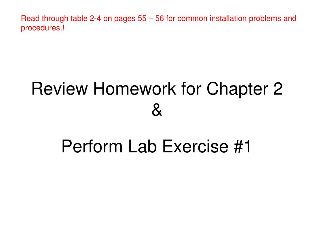 Read through table 2-4 on pages 55 – 56 for common installation problems and