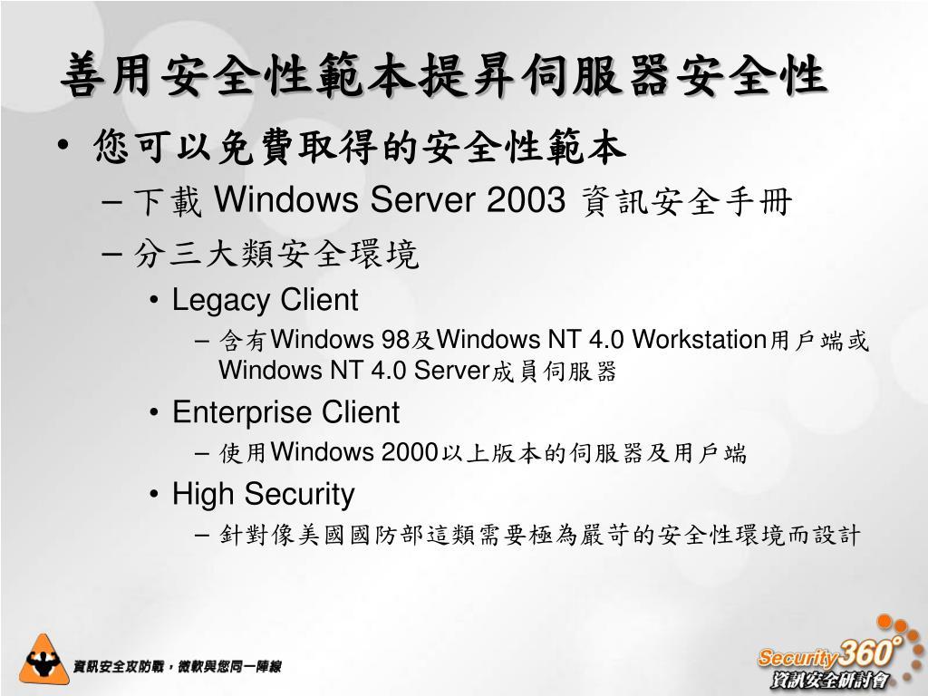 善用安全性範本提昇伺服器安全性