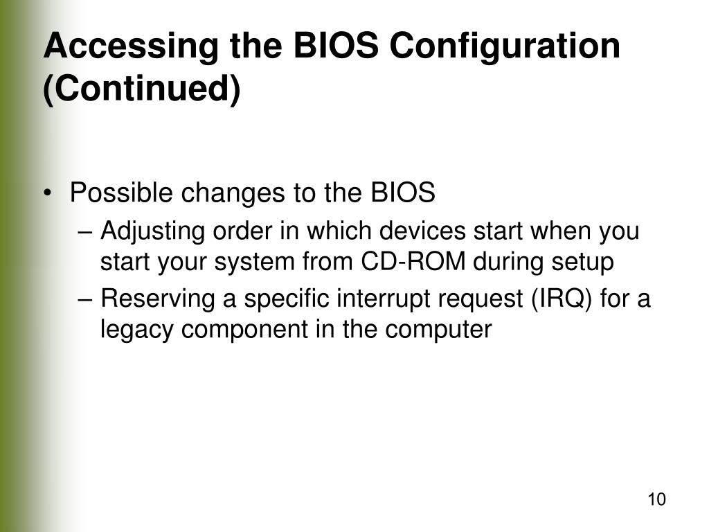 Accessing the BIOS Configuration (Continued)