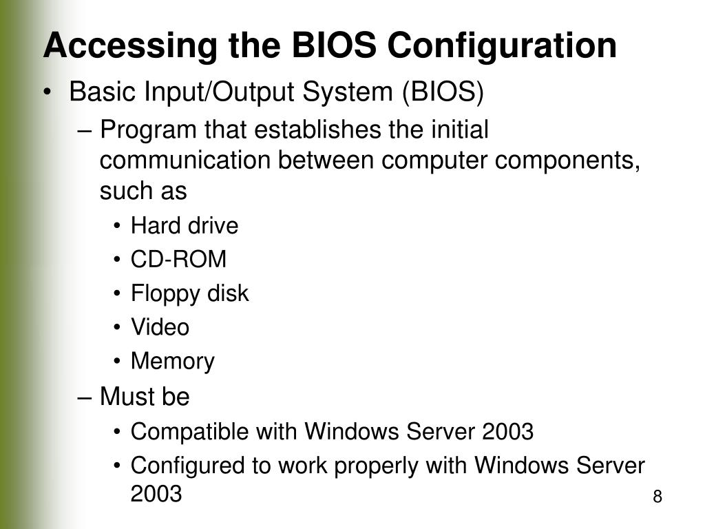 Accessing the BIOS Configuration