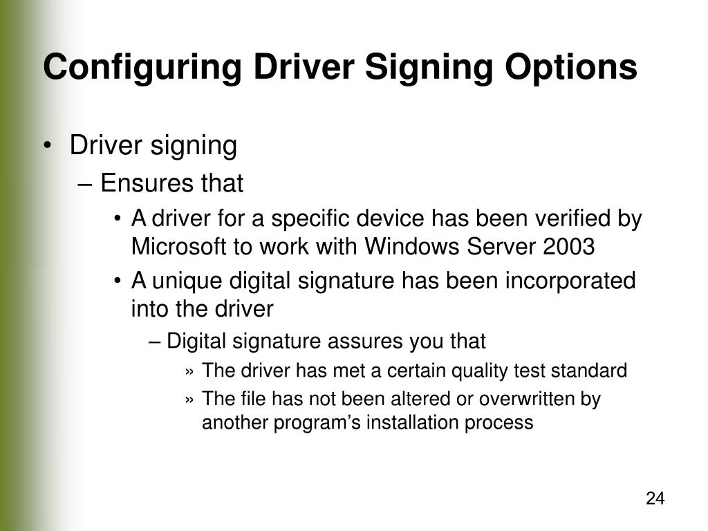 Configuring Driver Signing Options
