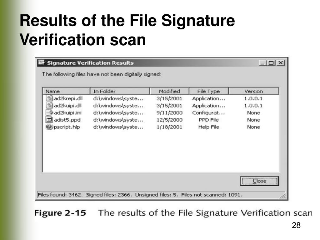Results of the File Signature Verification scan