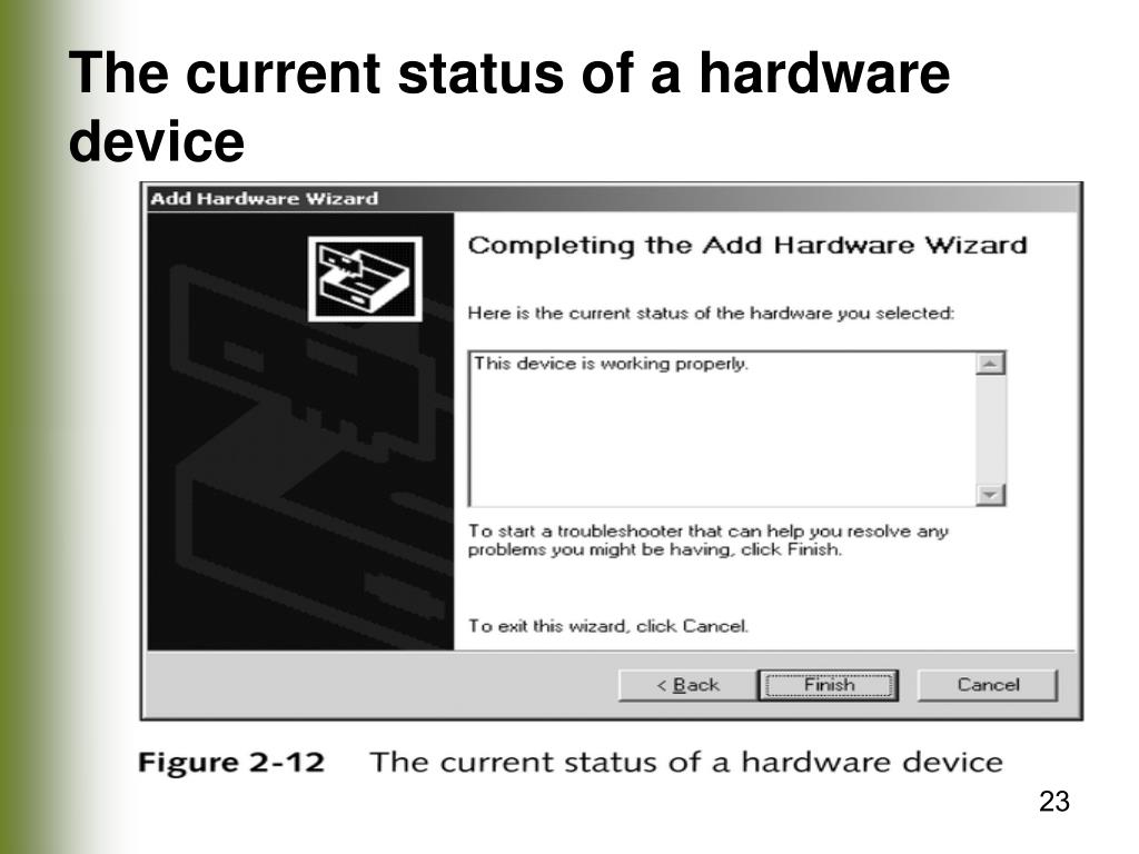The current status of a hardware device