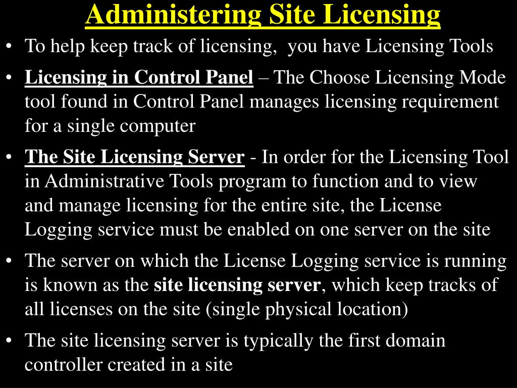 Administering Site Licensing