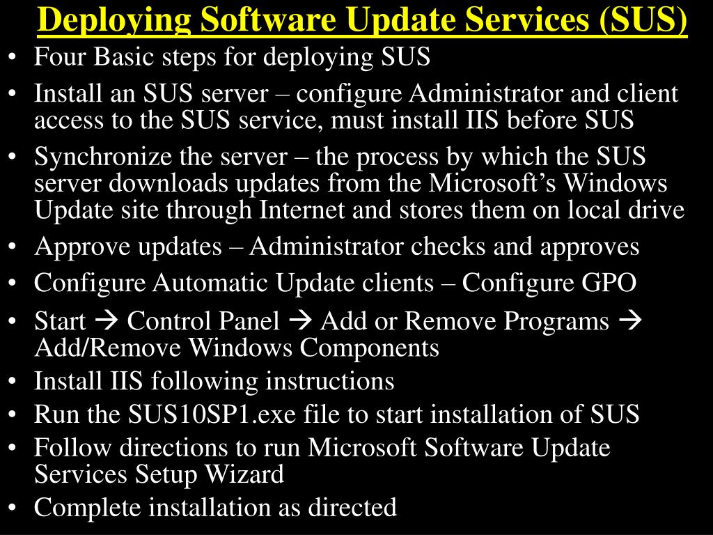 Deploying Software Update Services (SUS)