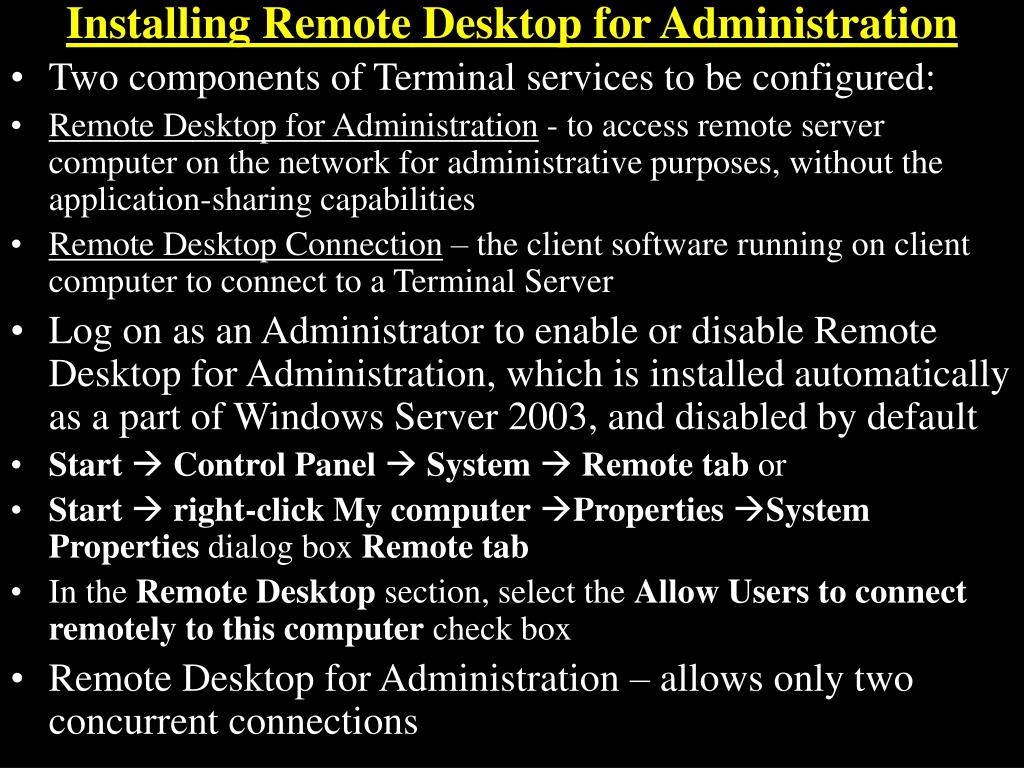 Installing Remote Desktop for Administration