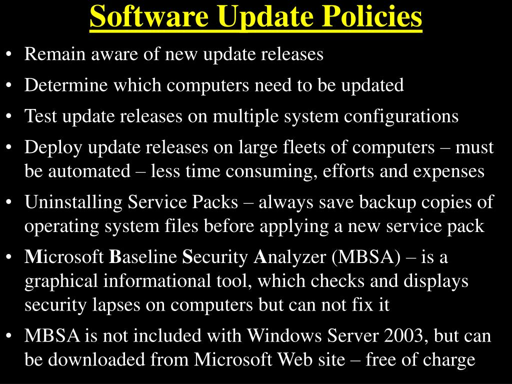 Software Update Policies