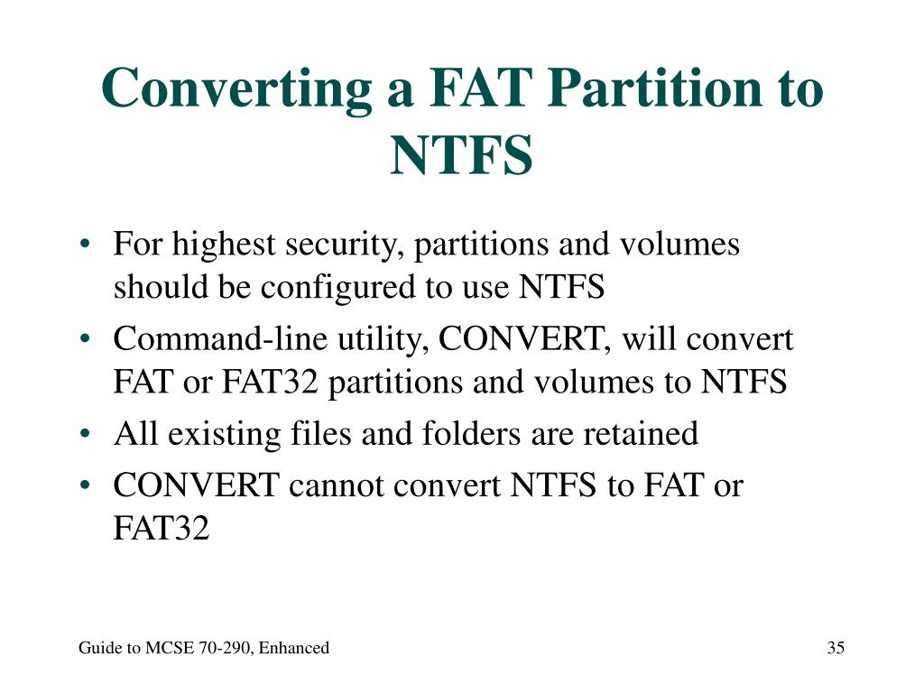 Converting a FAT Partition to NTFS