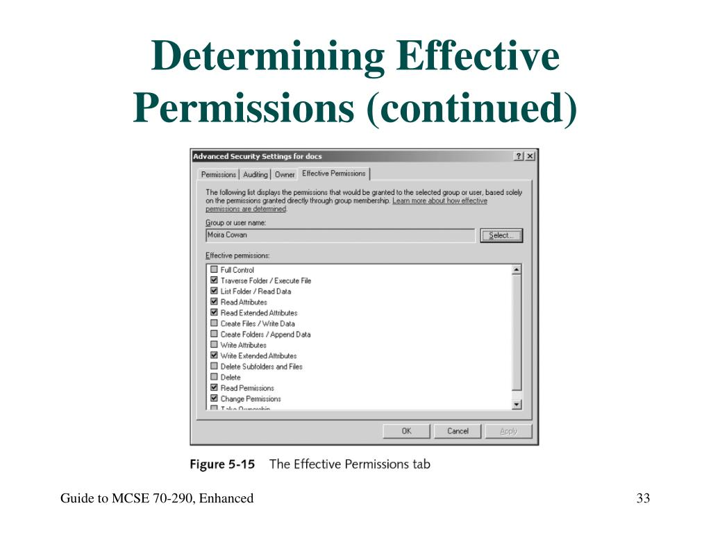Determining Effective Permissions (continued)