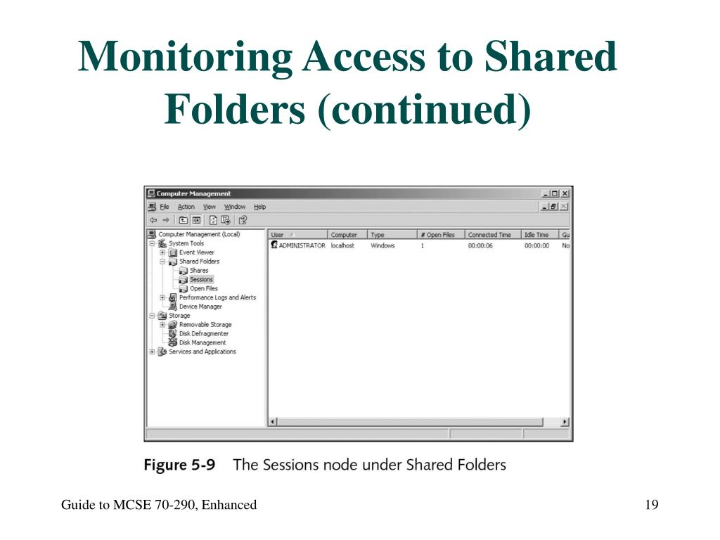 Monitoring Access to Shared Folders (continued)