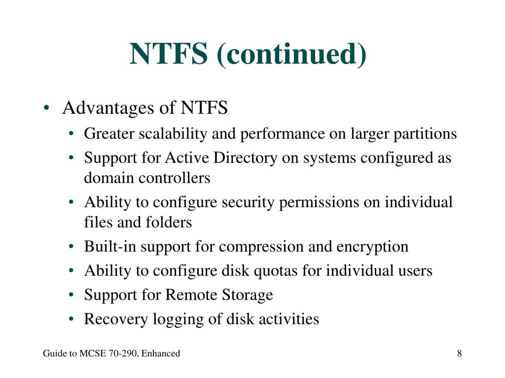NTFS (continued)