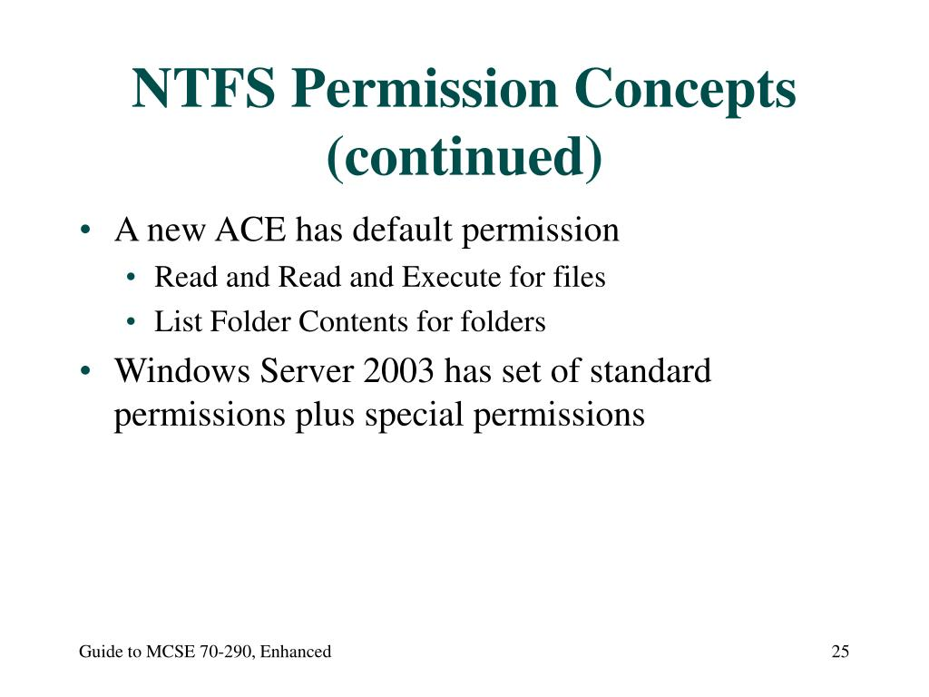 NTFS Permission Concepts (continued)