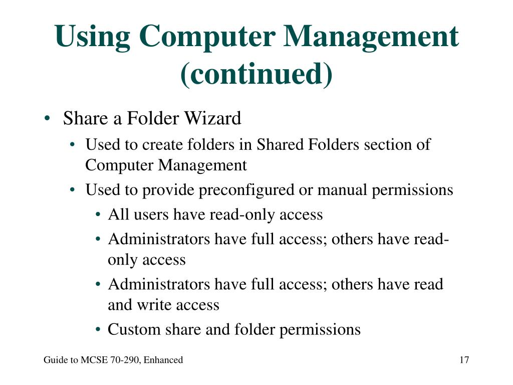 Using Computer Management (continued)