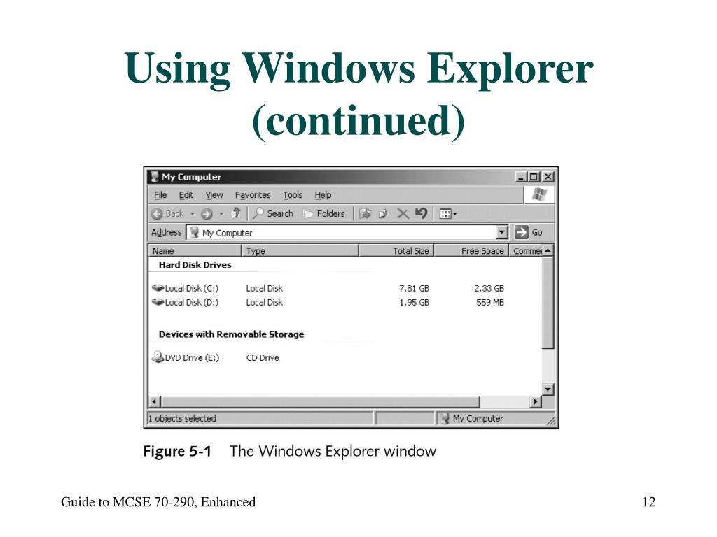 Using Windows Explorer (continued)