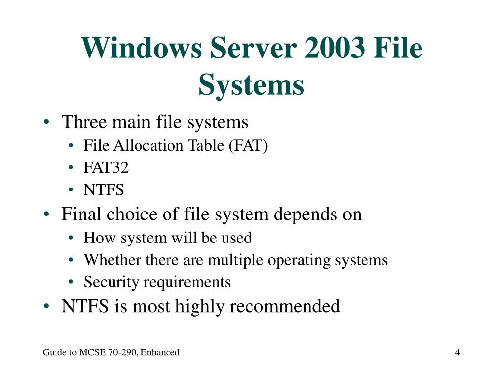 Windows Server 2003 File Systems