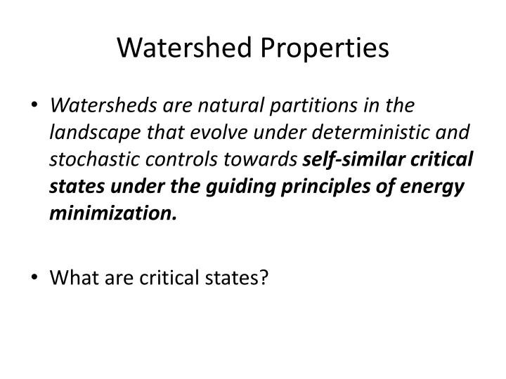 Watershed Properties