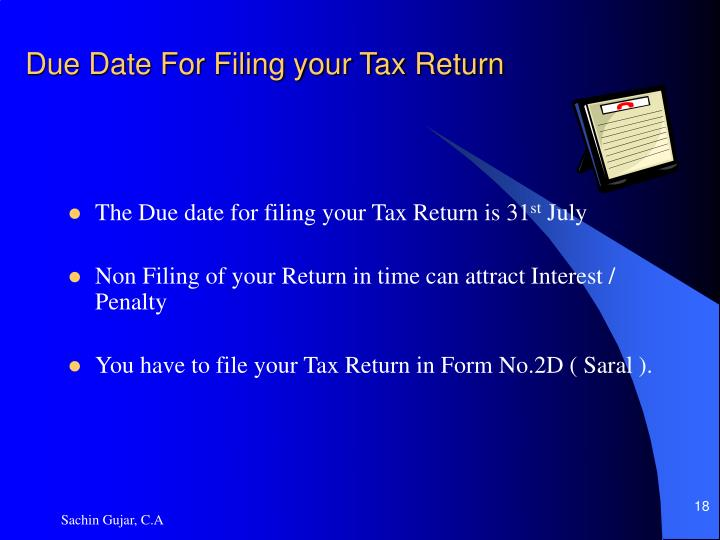 Due Date For Filing your Tax Return