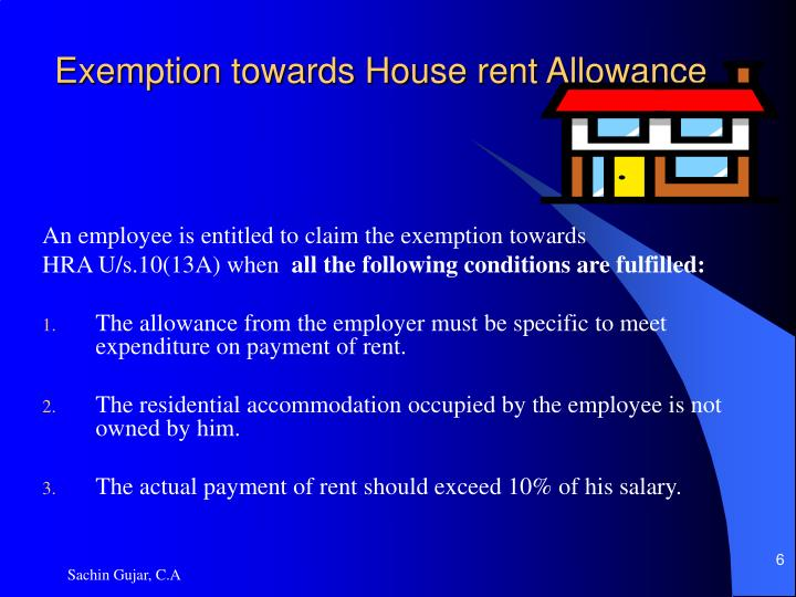 Exemption towards House rent Allowance