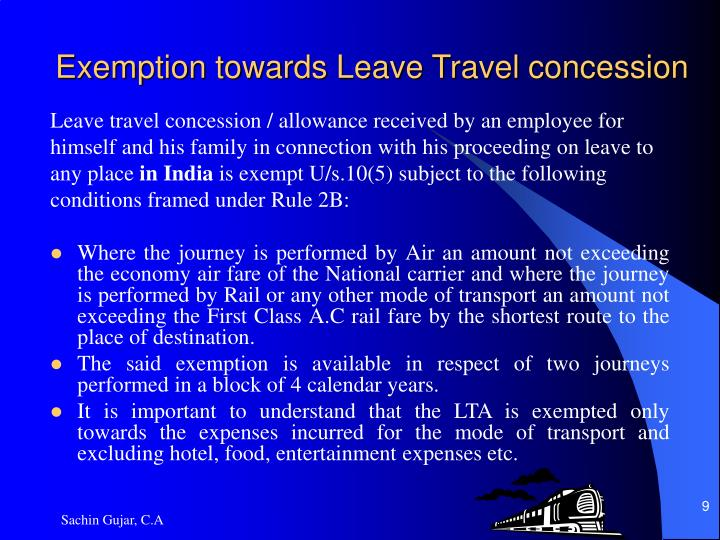 Exemption towards Leave Travel concession