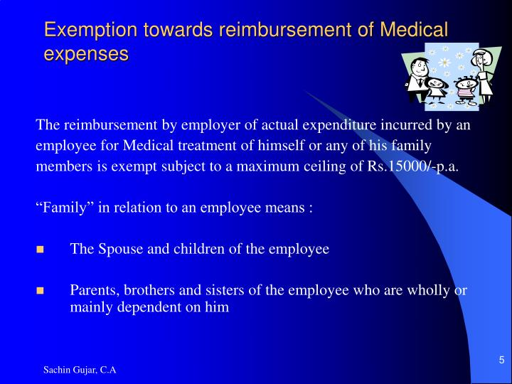Exemption towards reimbursement of Medical expenses