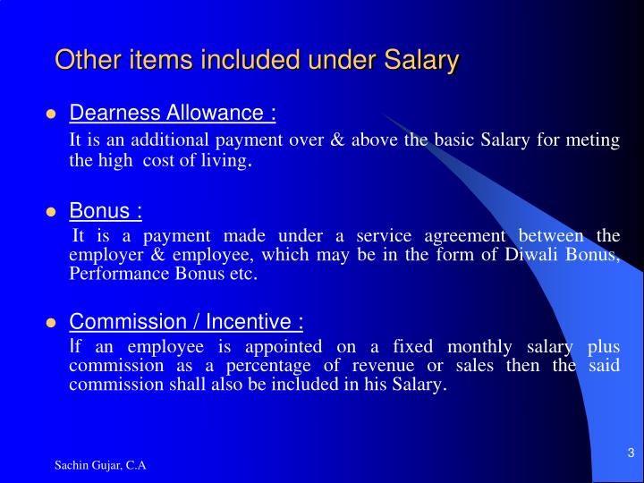Other items included under salary