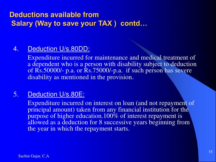 Deductions available from