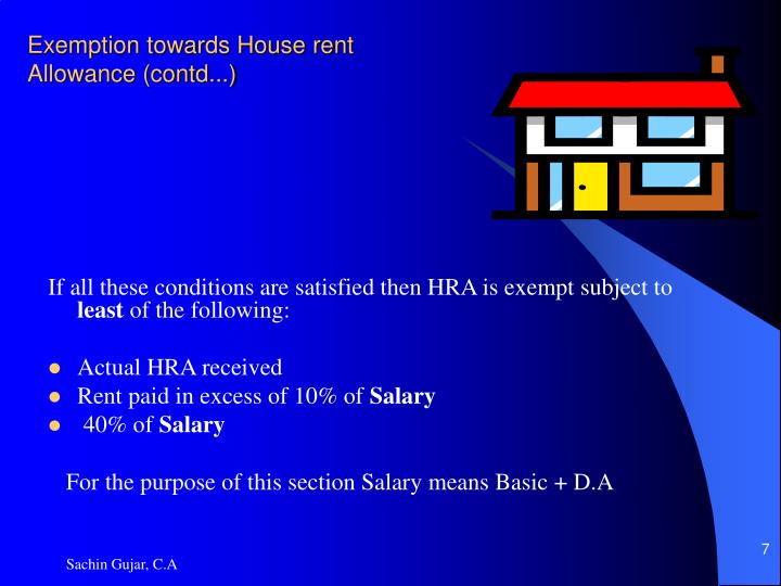 Exemption towards House rent