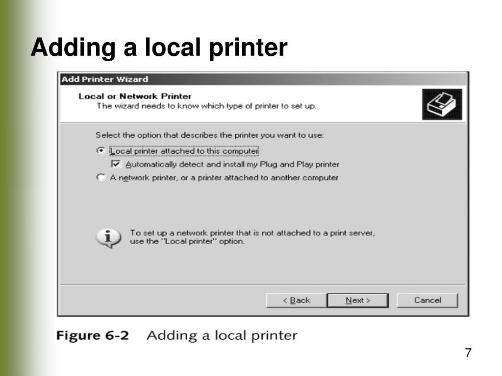 Adding a local printer