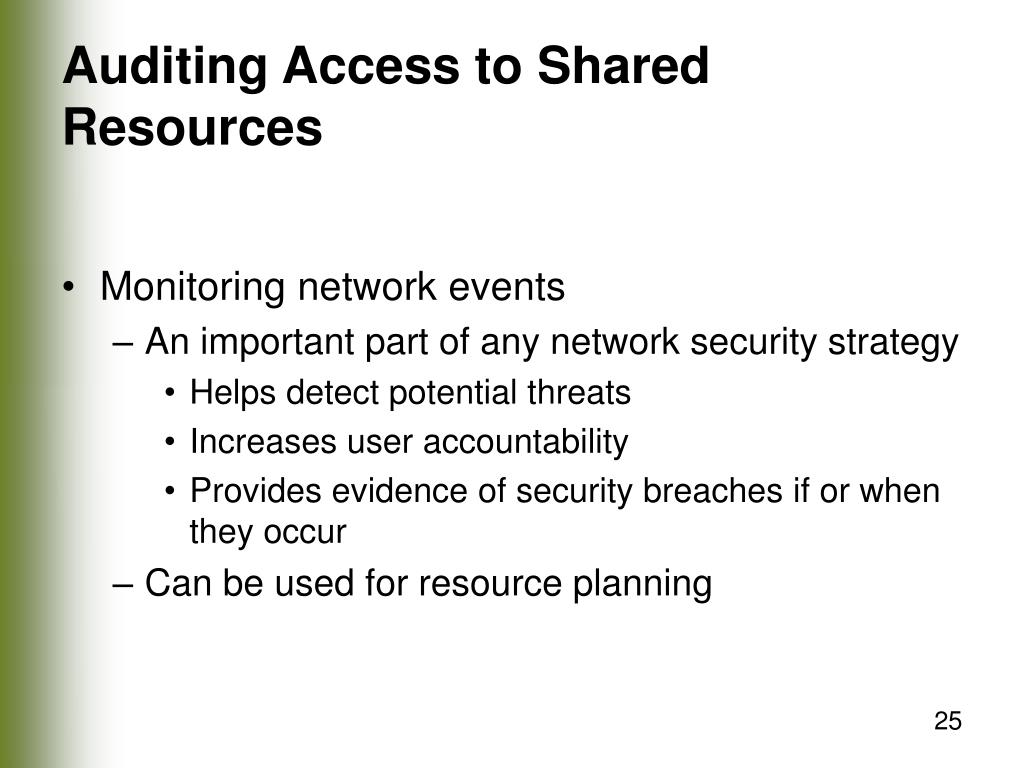 Auditing Access to Shared Resources