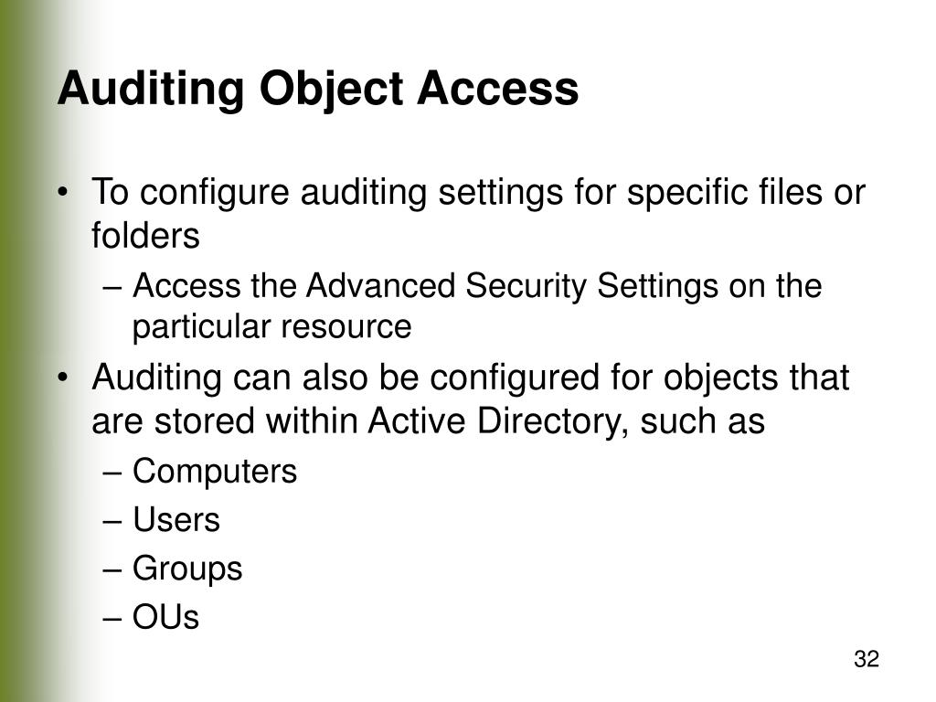 Auditing Object Access