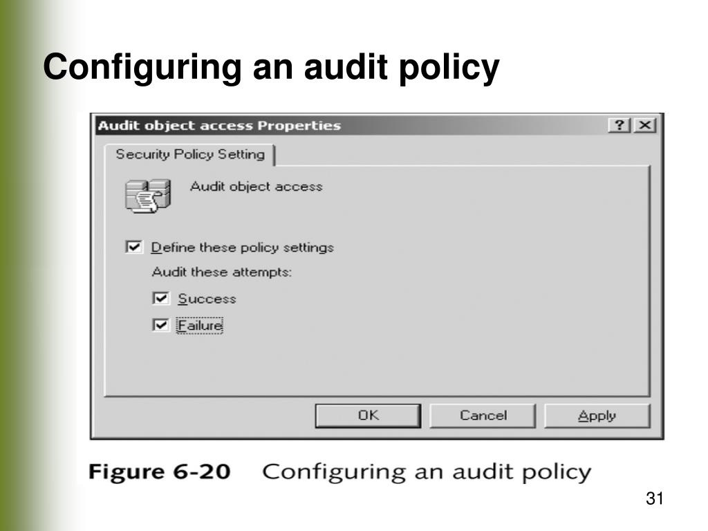 Configuring an audit policy