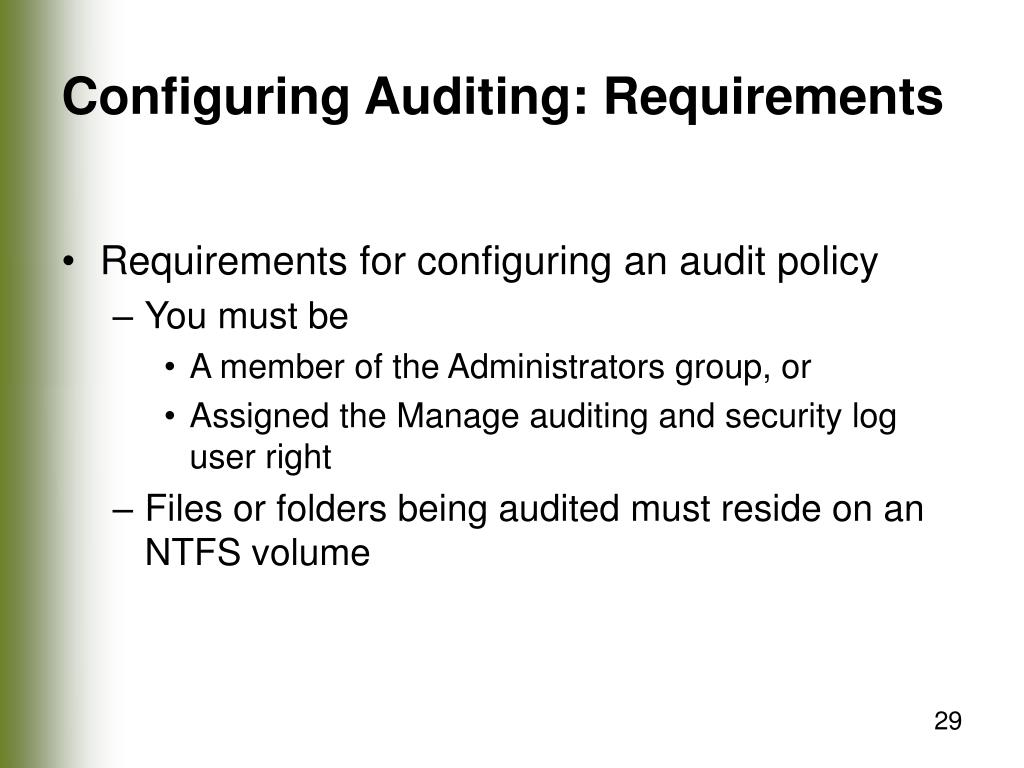 Configuring Auditing: Requirements