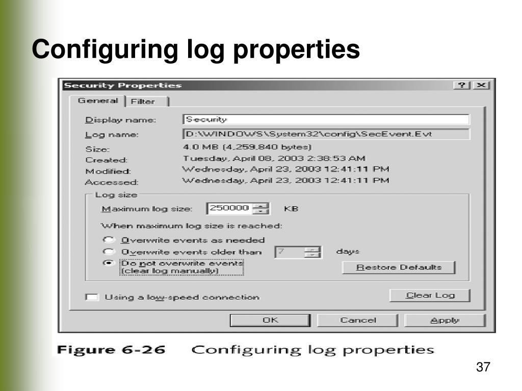 Configuring log properties