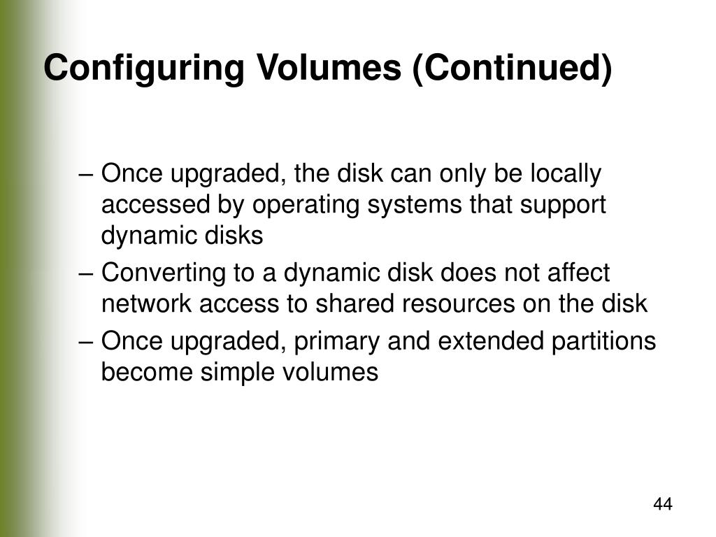 Configuring Volumes (Continued)