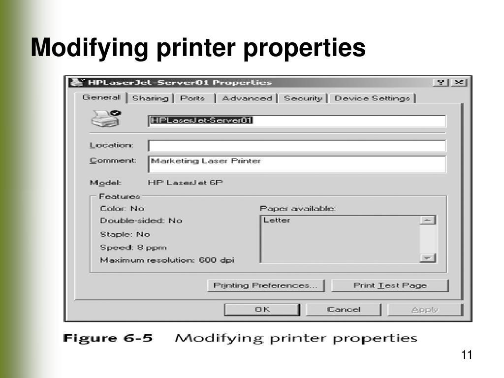Modifying printer properties