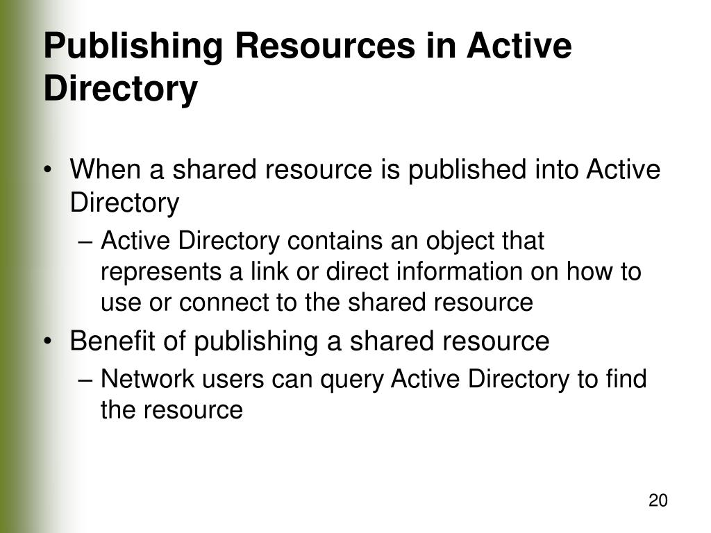Publishing Resources in Active Directory